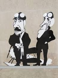 Lisboa - Estação do Metro Aeroporto, Caricaturas de Gago Coutinho e Sacadura Cabral, por