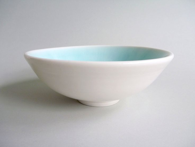 Porcelain Bowl, Japanese Inspired Bowl, Wheel Thrown finished with a Clear and Soft Ice Blue Stoneware Glazes - pinned by pin4etsy.com