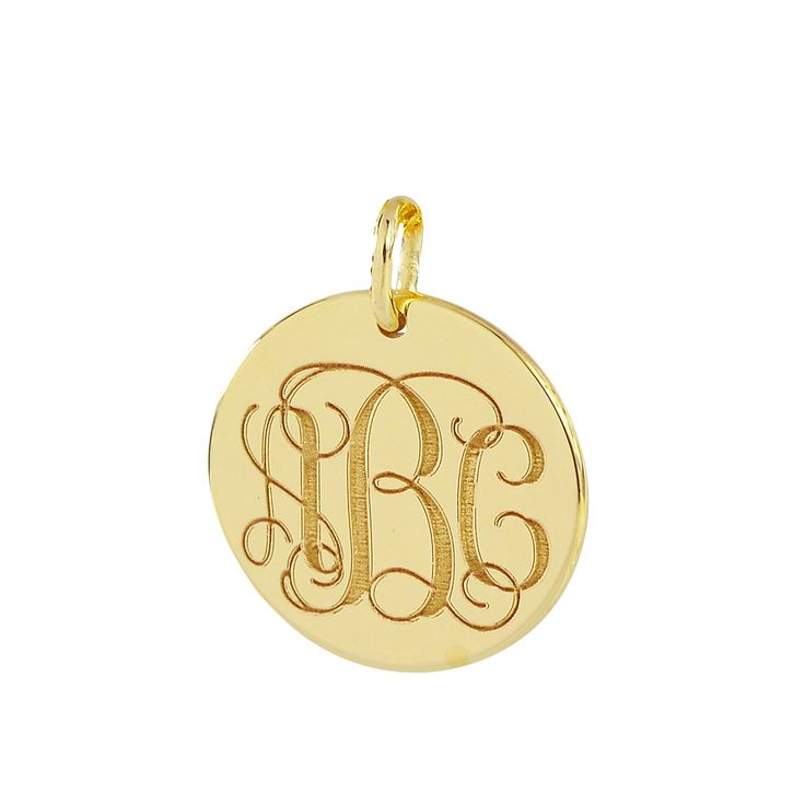 """3 Initials Monogram Charm Pendant Solid 10K Gold 1/2 Inch Dainty Small Round Disc Deep Laser Engraving GC06 (0). Disc Circle Diameter: 1/2 Inch (1.2 cm). Pendant Thickness: 0.7 mm / 22 Gauges / 0.028""""- Solid 10K Gold Disc Monogram Pendants and Chain. Chain is optional for this item from 16 to 18 inches solid 10k 1.0 mm Rolo chain, please select 0 inch option for only pendant. These monogram jewelry typically structured with the Last Name as the large initial in the Center, the Left…"""