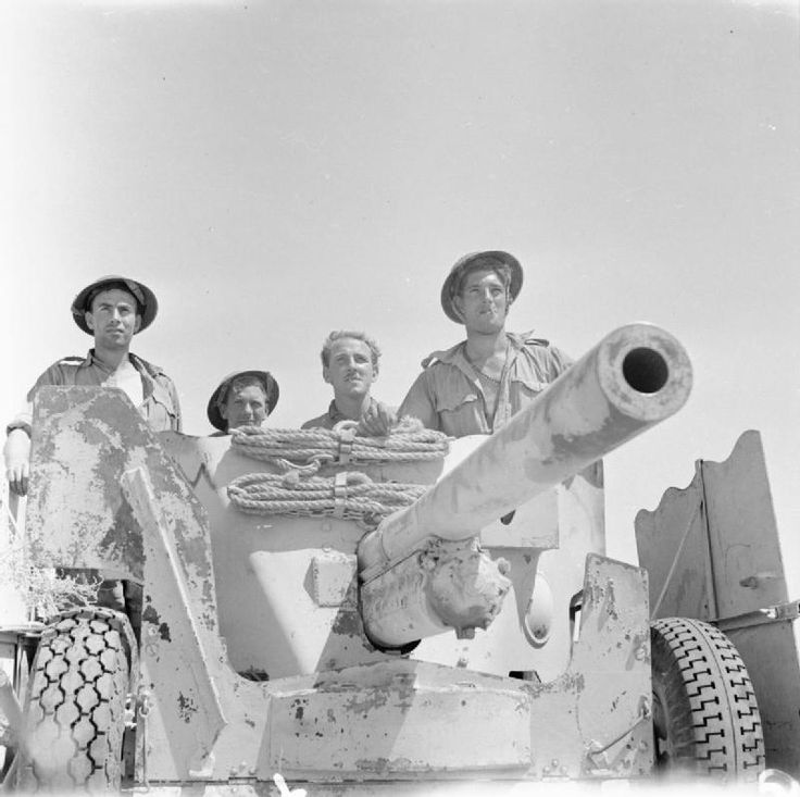 BRITISH ARMY NORTH AFRICA 1942 (E 14961) A 6-pdr anti-tank gun with its crew who have just knocked out two German tanks, 28 July 1942.