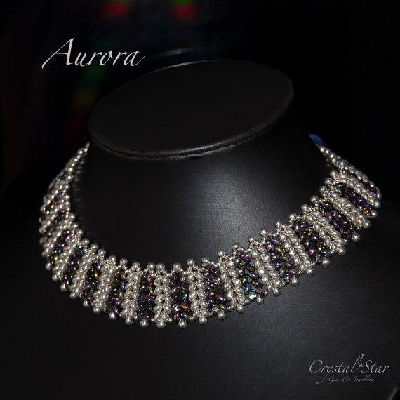 Herringbone Necklace 'Aurora' Tutorial by Crystalstargems on Etsy No11 Seed Beads, twin beads, round beads, ribbon, thread, miyuki drop beads
