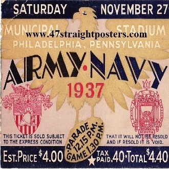 The best drink coasters! Made from authentic college football tickets like this 1937 Army vs. Navy football ticket.  http://www.shop.47straightposters.com/1937-Army-vs-Navy-Football-Ticket-Drink-Coasters-37-ARMY.htm
