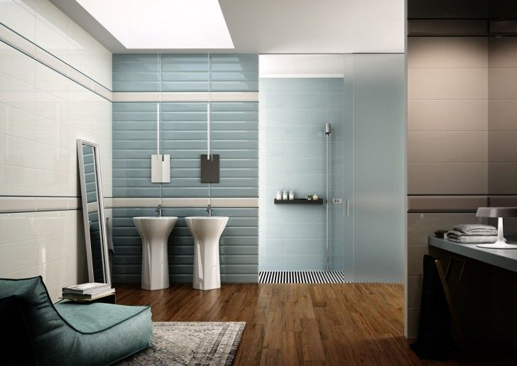Bathroom  Modern Accessories Bathroom Blue Laminate Floor Mirror Double  Sink Shower Carpet Lounge Sofa Wooden. 1000  images about Bathroom on Pinterest   Ideas for small