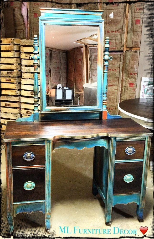"Antique Vanity Refinishing..A $35 Garage Sale Find! Using  ""Unicorn Spit""chalk paint"