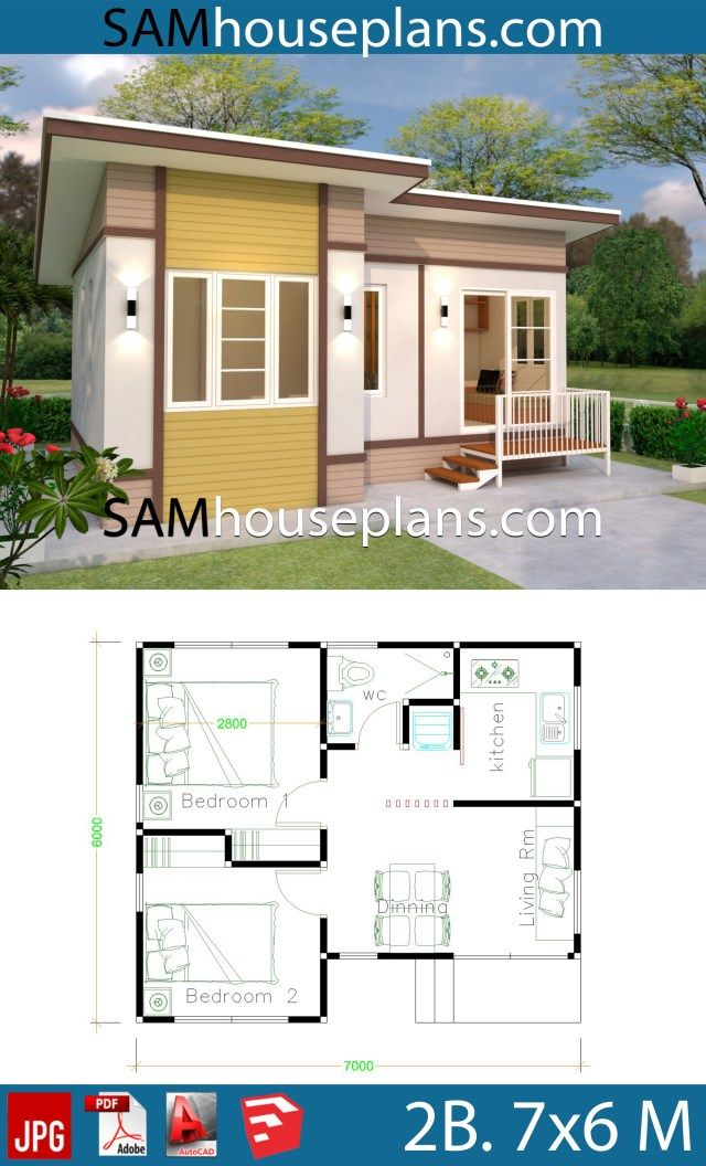 Small House Design 7x6 With 2 Bedrooms Sam House Plans Small House Design Small House Small House Design Plans
