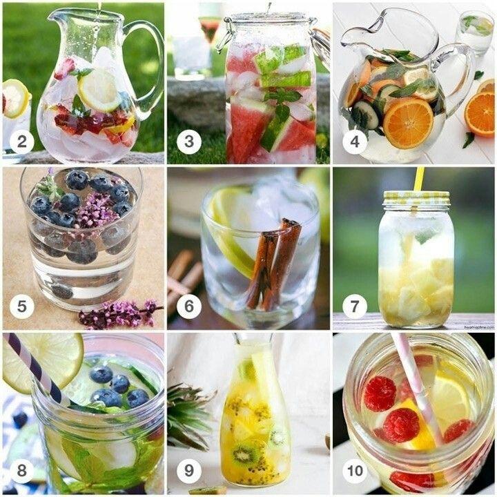 2. aardbei – citroen – basilicum / 3. watermeloen – munt / 4. sinaasappel – komkommer – munt / 5. blauwe bessen – lavendel /6. appel – kaneelstok / 7. ananas – kokoswater / 8. kiwi – limoen – blauwe bessen – munt /9. ananas, kiwi, passievruchten /10. citroen – framboos