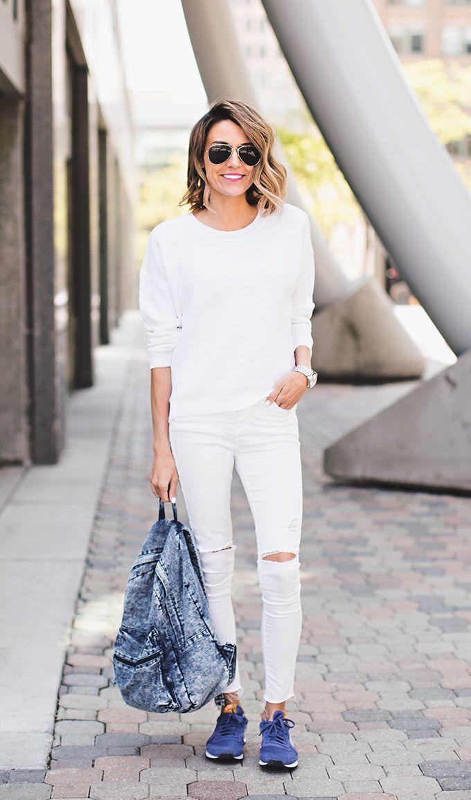 White-on-white | Colorful Nikes | Denim backpack