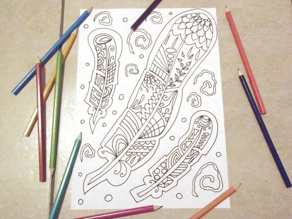 feather adult coloring page instant download by LaSoffittaDiSte