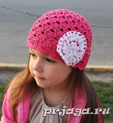 Летняя шапочка крючком для девочки