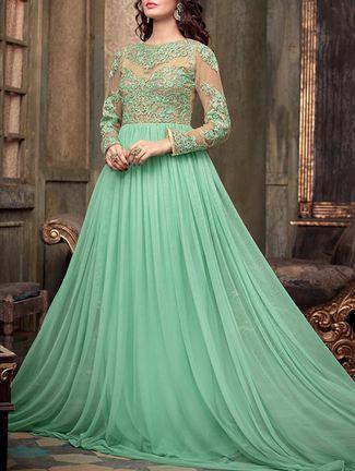 Buy Radhe Arts green net dress material Online, , LimeRoad