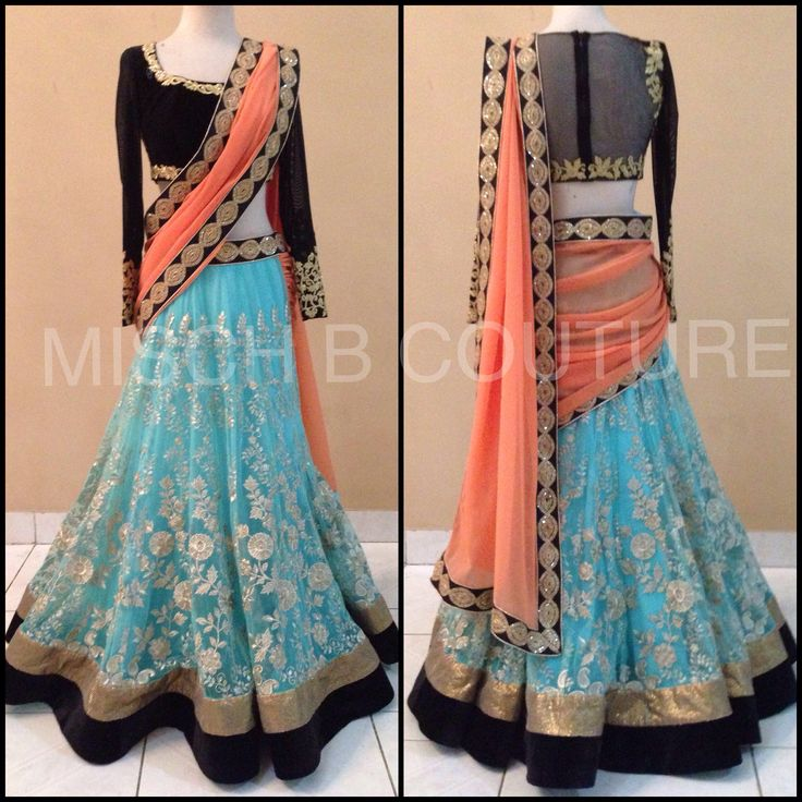 Embroidered lehenga saree by MischB Couture