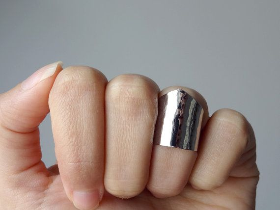 knuckle cuff ring shiny silver knuckle ring over the by AshkalShop, $18.00