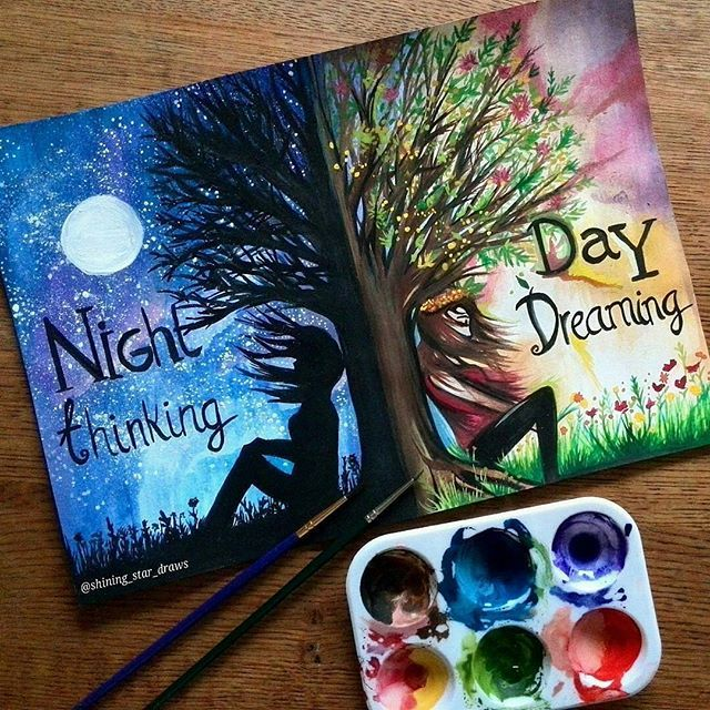 Awesome tree painting idea! Are you a night thinker of day dreamer? ? By @shining_star_draws . Follow @artistic_unity_ . Shared by @art_by_fabian .