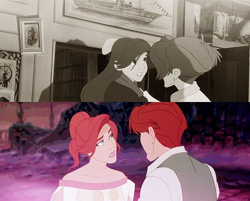 Anastasia and Dimitri. The first time, he saved her from the Bolshevik. On the second time, we can see in Anastasia's look, she realizes she's alive thanks to him and only him. From the very first beginning. We can't see Dimitri's look but I guess it is full of love for her. That's why I love this movie so much.