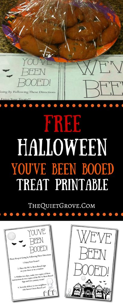 Free Halloween You've Been Booed Treat Printable