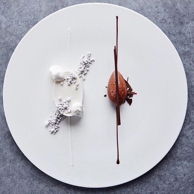 Sweet coconut cream, Almond praline, Valrhona Guanaja sorbet by Chef Paul Lemieux from l'Auberge du Soleil