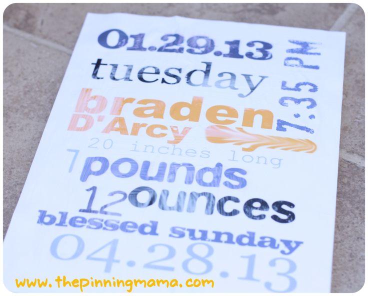 Stats Board, Baby Shower Gift, Baptism Gift, Christening Gift, Blessing  Gift,