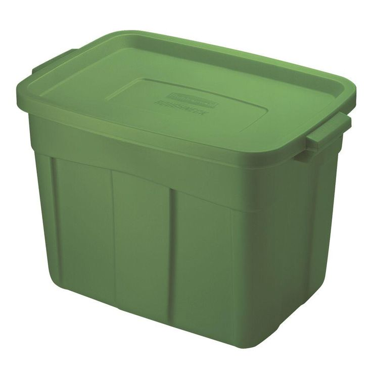 Rubbermaid 18 Gal. 15-9/10 in. x 16-1/2 in. x 23-9/10 in. Storage Tote in Green-1823619 - The Home Depot