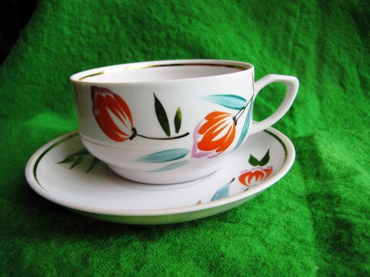 Vintage USSR Latvia Riga RPR Cofee Tea Cup & Saucer Gold White green red