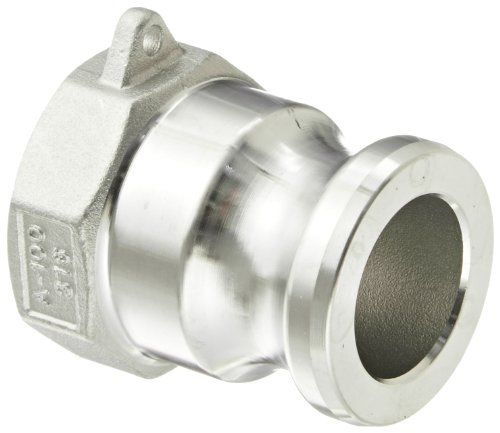 "Dixon G100-A-SS Investment Cast Stainless Steel 316 Global Type A Cam and Groove Hose Fitting, 1"" Plug x 1"" NPT Female:   div class=""aplus""The Dixon global Type A investment cast stainless steel 316 cam and groove fitting has a straight body with two openings for connecting two hoses or pipes with cam and groove fittings or threads. It has one male groove adapter end for connecting to female cam couplers and one NPT female threaded end for connecting to an NPT male threaded connection ..."