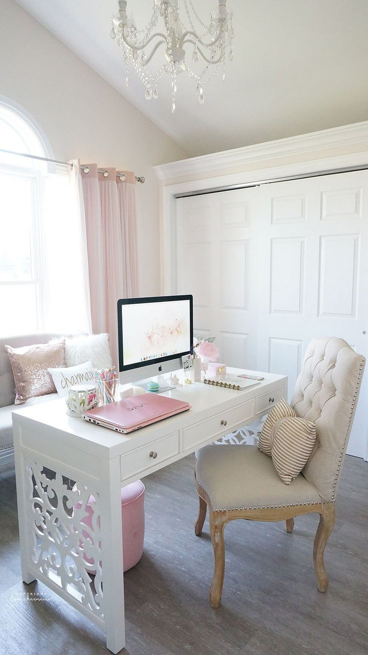 good interior design for home%0A Chic home office design with a white  beige  and blush pink color palette  and