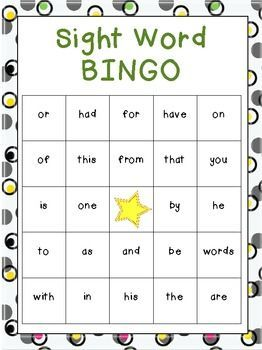 FREE Beginning Sight Word Bingo Games (Frys)