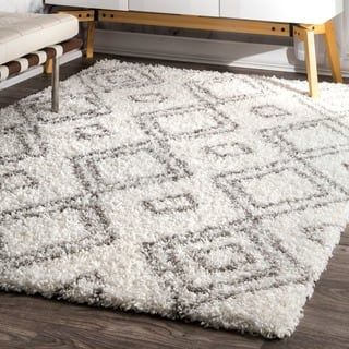 nuLOOM Alexa Moroccan Trellis White and Grey Shag Rug (8' x 10') | Overstock.com Shopping - The Best Deals on 7x9 - 10x14 Rugs