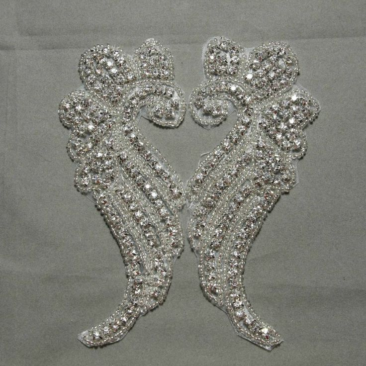 A Pair of Iron/Sew on wing shape wedding gown dress Rhinestone Applique Patch