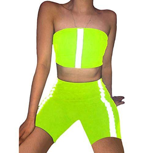 Mujer Conjuntos Deportivos Crop Top y Pantalones Cortos Dos Piezas Bandeau Sin T…