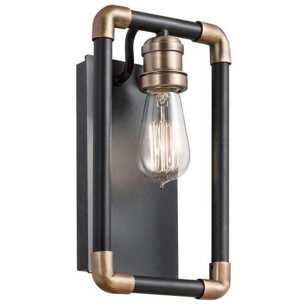 Kinkiet LAMPA ścienna IMAHN KL/IMAHN1 Elstead KICHLER industrialna OPRAWA metalowa mosiądz naturalny czarna