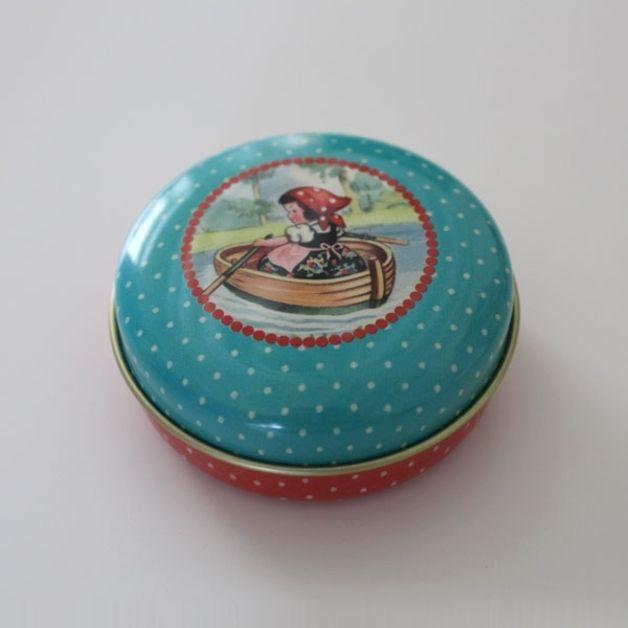 Boîtes de rangement, Boîte métal ronde La Petite Fille est une création orginale de Boutique-Chatfoin sur DaWanda