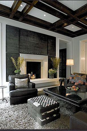 Modern living room with exposed beams. http://www.adamjamesrealty.com