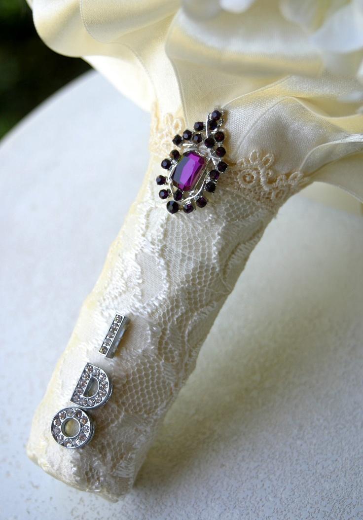Aubergine brooch wedding bouquet. Deposit on a made to order bridal bouquet. Please read description.. $75.00, via Etsy.