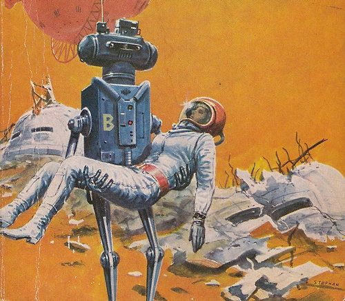 10 Cool Sci Fi Retro Artworks: Robot Rescues Spacewoman From Wrecked Habitat. Love Her