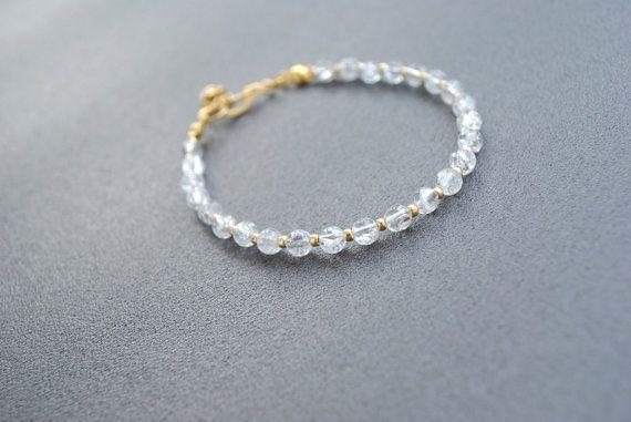 Ice Crystal and Gold Fine Bracelet Transparent by elfinadesign