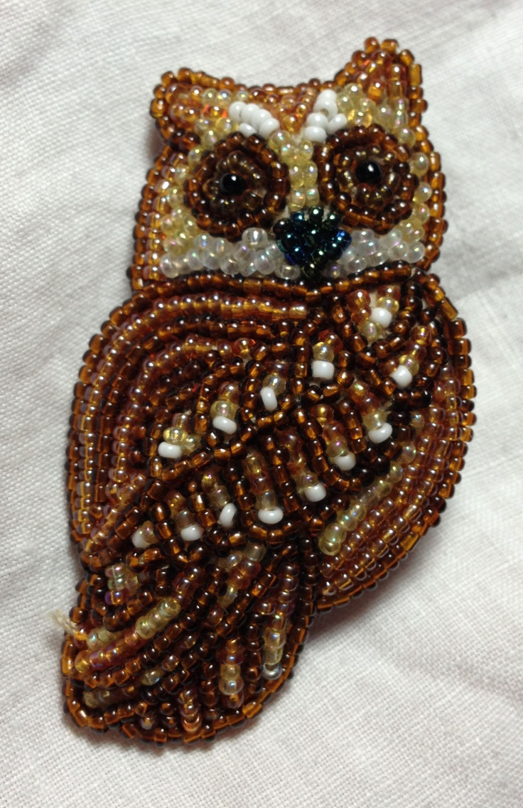 Beaded owl on felt backing with broken pin mechanism.