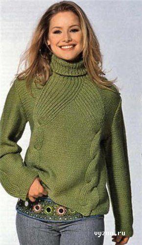Свитер с косами - в нем тепло и уютно Уже совсем скоро наступят зимние холода, и красивый вязаный свитер спицами для женщин будет очень кстати. Замечательная модель женского свитера для прохладного дня - в нем тепло и уютно, а насыщенный цвет поднимет настроение...