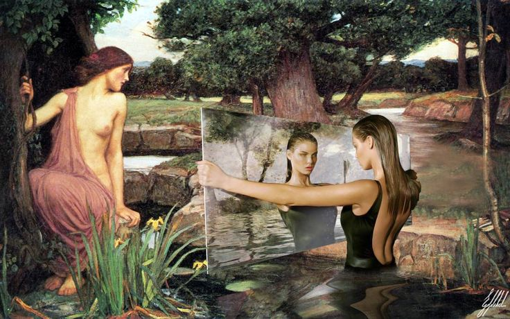 #famous #painting #waterhouse #model #art #artwork #photomanipulation  Reference photo: The Pool Side Story' photographed by Mert and Marcus, model Angela Lindvall.  Original painting:  Echo and Narcissus painting byJohn William Waterhouse.