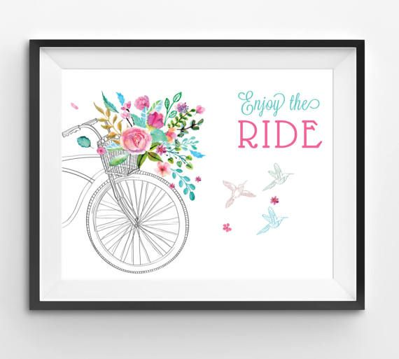 Flowers in Bicycle's Basket Illustration Summer Time