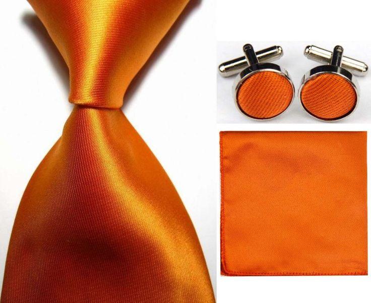 Snt0416 Orange luxe Mens jeu de nœud papillon cravates 2016 uni + Hanky mouchoir boutons de manchette cravates hommes d'affaires décontractée cravate dans Ties & Handkerchiefs de Accessoires et vêtements pour hommes sur AliExpress.com   Alibaba Group