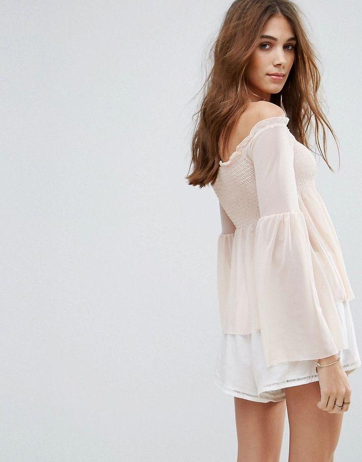 New Look Shirred Mesh Bardot Top - Pink
