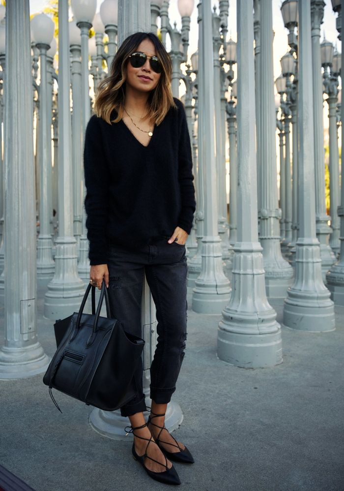 MAJE fuzzy angora sweater (similar here + turtle neck here) ZARA boyfriend  jeans (