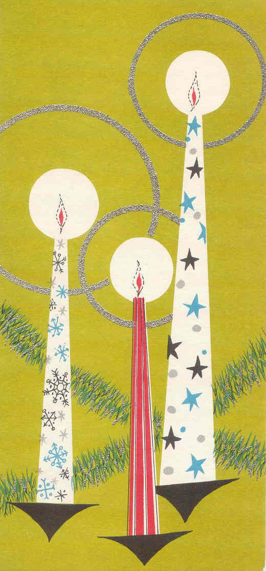Mid Century Modern Christmas Cards A decidedly mid-century modern, candles