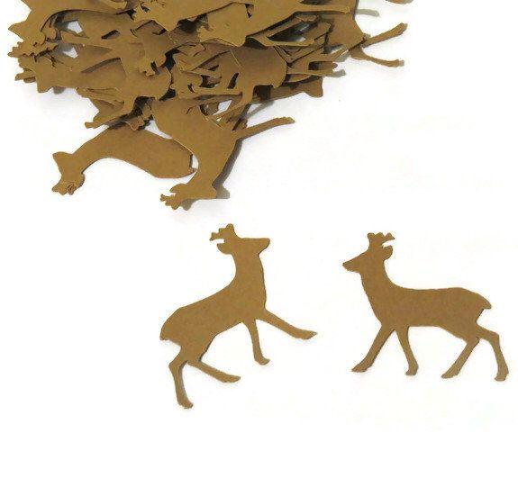 $6.45 deer confetti  100 CT, PartyParts on Etsy https://www.etsy.com/listing/206814455/deer-confetti-woodland-wedding-hunting