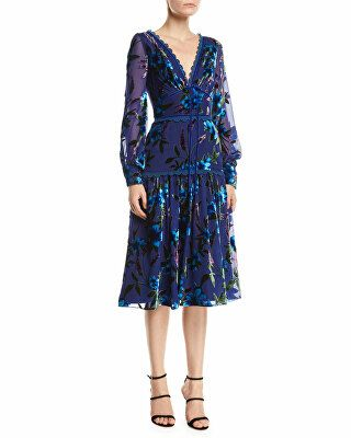 3789ea59 Marchesa Notte Designer Floral Velvet Burnout Bishop-Sleeve Dress ...