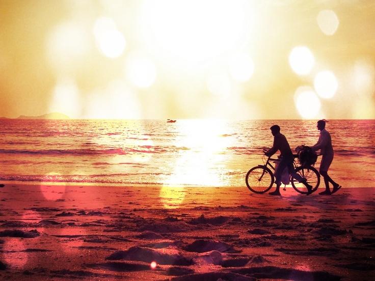 India, Goa, Bike on the beach