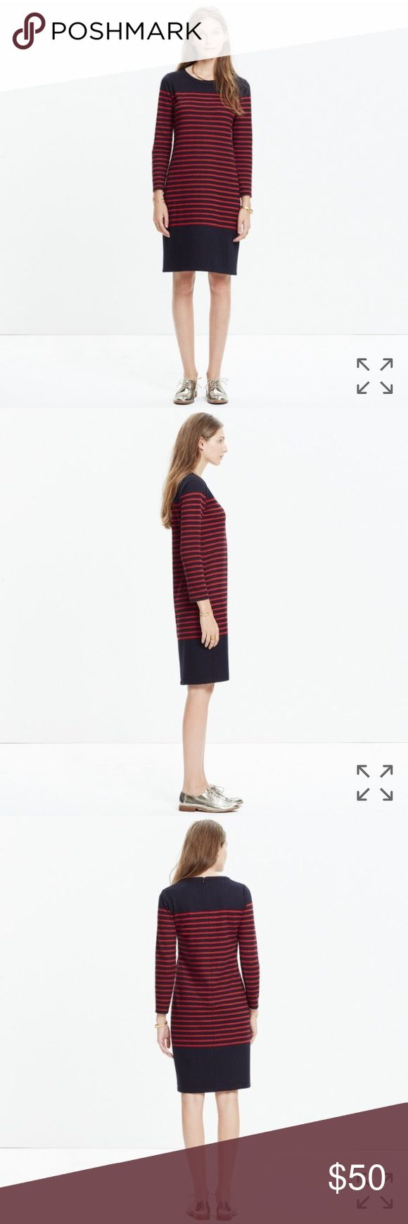 "Madewell Mariner Stripe Midi Dress New with tags! An easy midi dress with timeless nautical stripes. Pair with leather ankle boots or sporty kicks.    Nonwaisted. Falls 39 1/2"" from shoulder. Poly/wool. Dry clean. Madewell Dresses Midi"