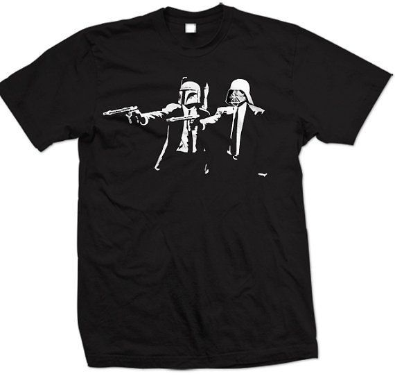 STAR WARS Pulp Fiction T-Shirts Star Wars merchandise http://funstarwars.com/shop/star-wars-t-shirts/star-wars-pulp-fiction-t-shirts/ 15.75 This STAR WARS Pulp Fiction T-Shirts features a comfortable crew neck and quality construction, making it the perfect graphic tee gift for both men and women. The soft fabric looks as good as it feels, and this tee is durable for everyday wear. Our cute, funny, and unique designs are printed professionally, and make great novelty gifts for him or her…
