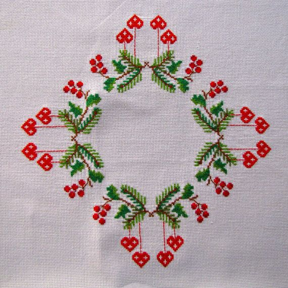 Vintage Linen Tablecloth Embroidered Cross Stitch by KerryCan, $35.00 This doesn't look too hard