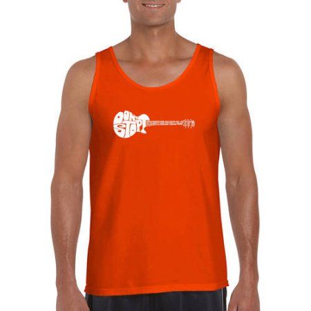 Los Angeles Pop Art Men's Tank Top - Don't Stop Believin', Size: Large, Orange